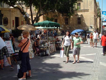 Souvenir vendors in Valletta