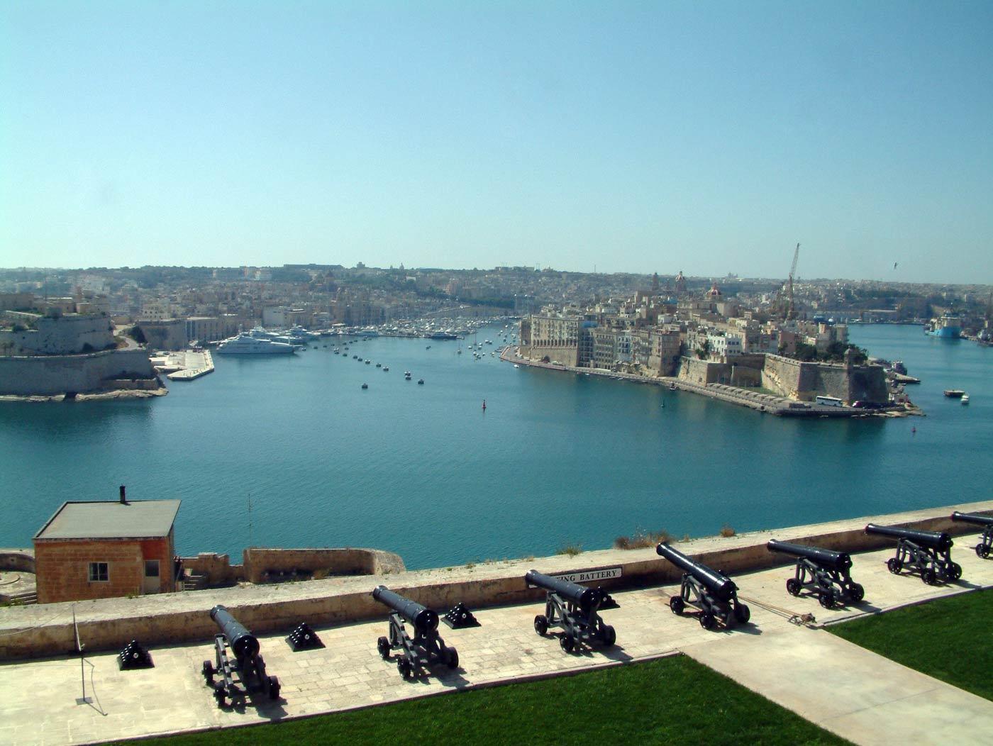 Harbour and the 3 cities from upper barakka gardens in valletta malta