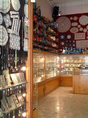 Lace, filigree silver, glass and other lovely crafts for sale in Valletta
