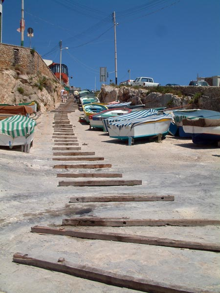 The boat yard at the Blue Grotto