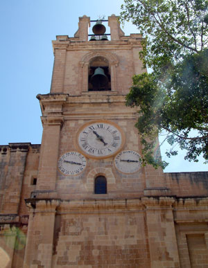 The clock tower of St John's Cathedral in Valletta