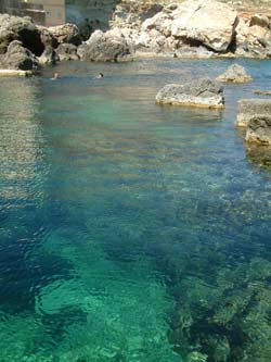 Crystal clear water and interesting rock formations