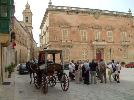 Horse and cart rides in Mdina, Malta