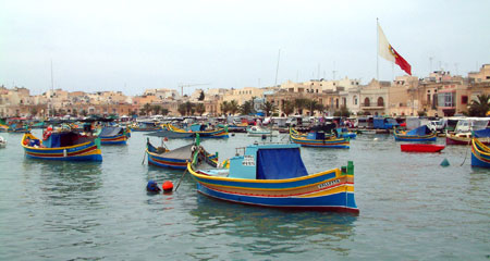 Marsaxlook Harbour and colourful Maltese fishing boats