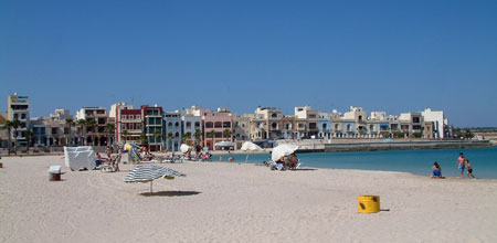 Pretty Bay with its sandy beach in Birzebugga Malta