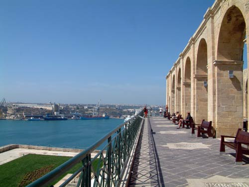 Upper Barracka Gardens overlooking the Harbour in Valletta Malta