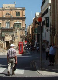red phone box in Valletta Malta