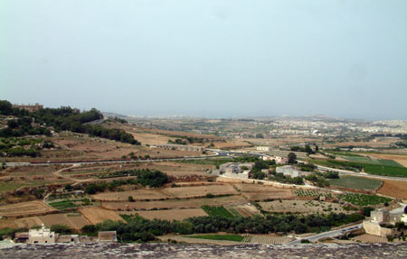View from the fortified walls of Mdina